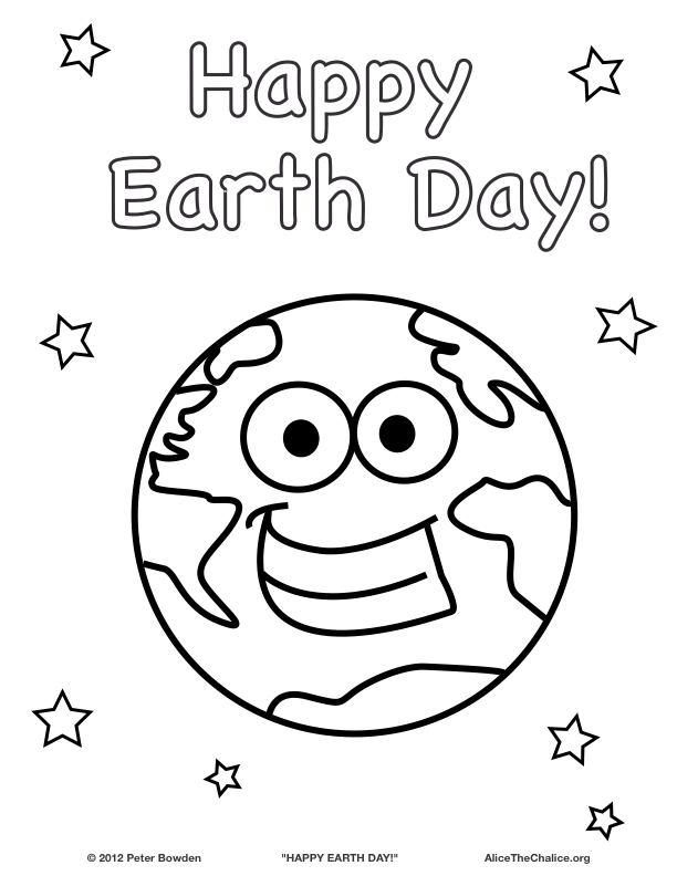 Earth Day Coloring Pages Pdf : Happy earth day coloring page alice the chalice
